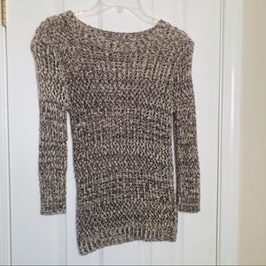 Nordstrom's Rubbish chocolate and cream knit top.